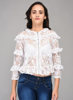 White Lace Top with added Ruffle & Front Zipper