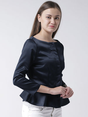 Navy Peplum Top with Front Opening