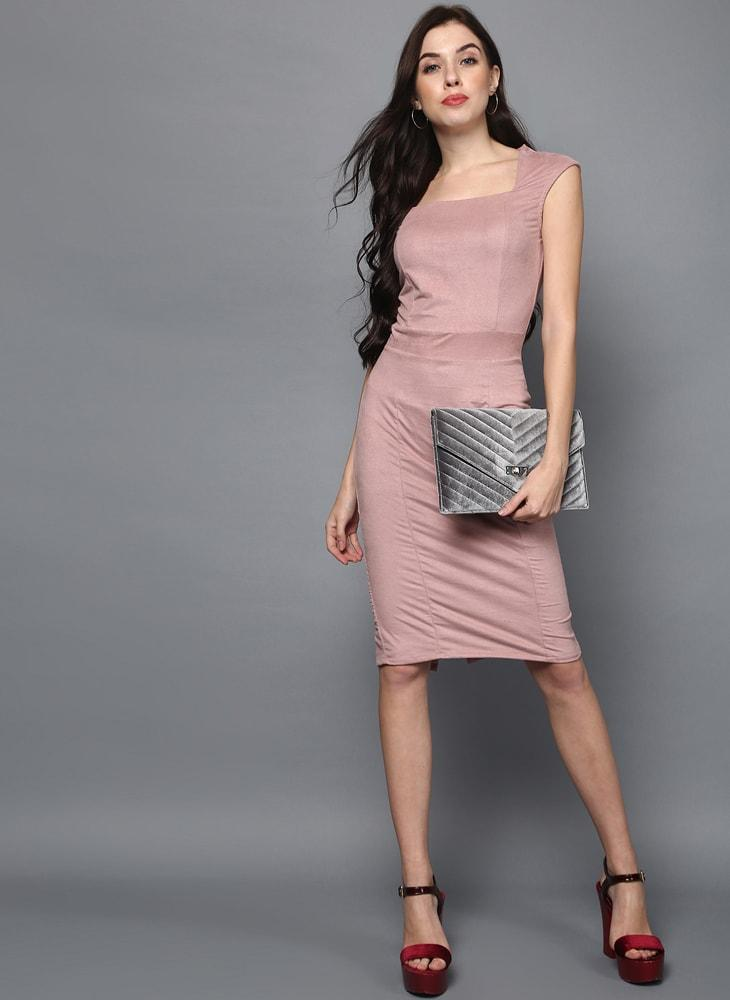 Pastel Pink Suede Midi BodyCon Dress