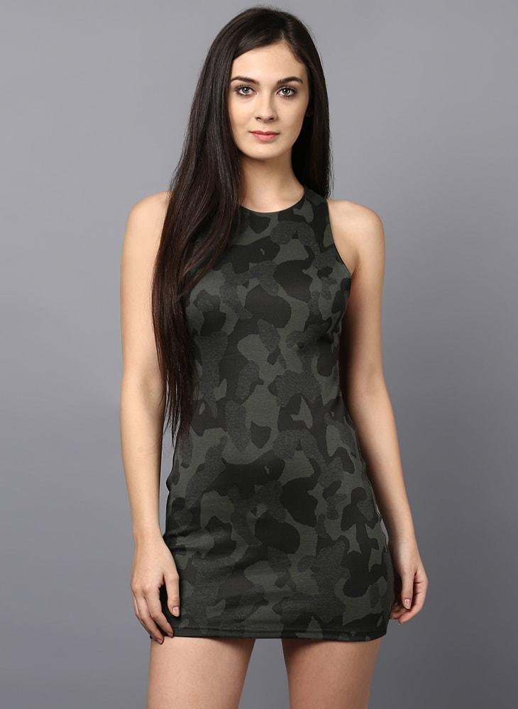 Camouflage Body Fit Sleeveless Dress