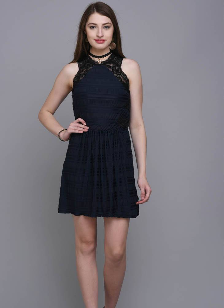 Navy Fit & Flare Dress with Lace Detail
