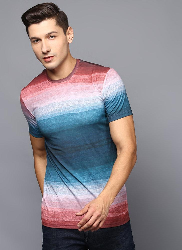 Blue & Coral Color Blocked Crew Neck T-Shirt