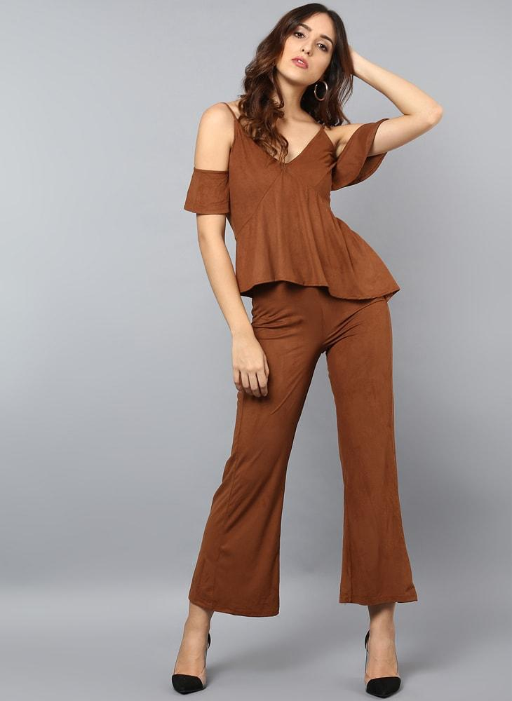 Faux Suede Jumpsuit with Front Frill Detail