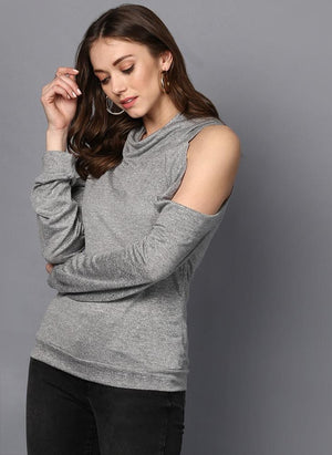 Grey Cowl Neck Cold Shoulder Jumper
