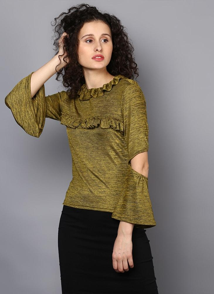 Frill Front Blouse with Elbow Cut-Out