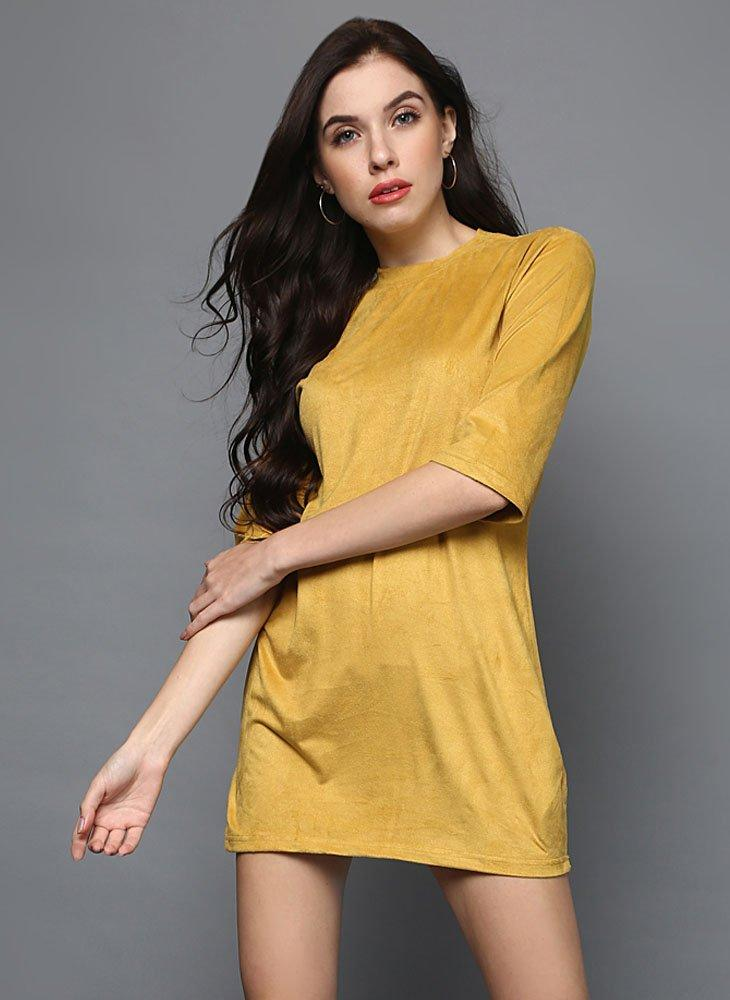 Tuscan Yellow Faux Suede Mini- Dress