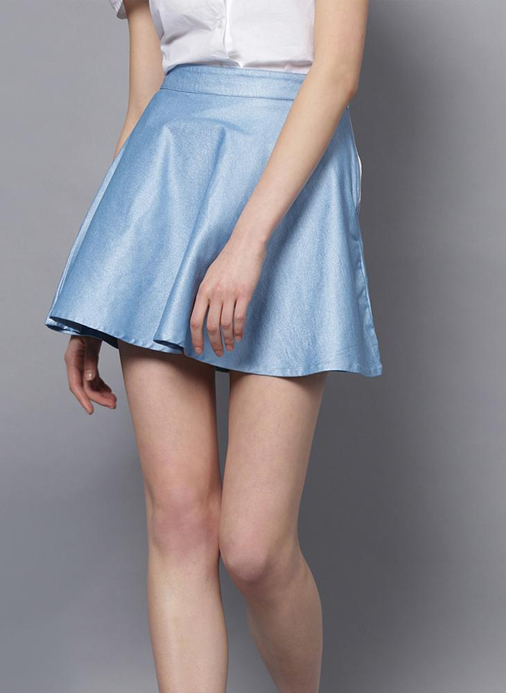 Sky Blue Metallic Skater Skirt