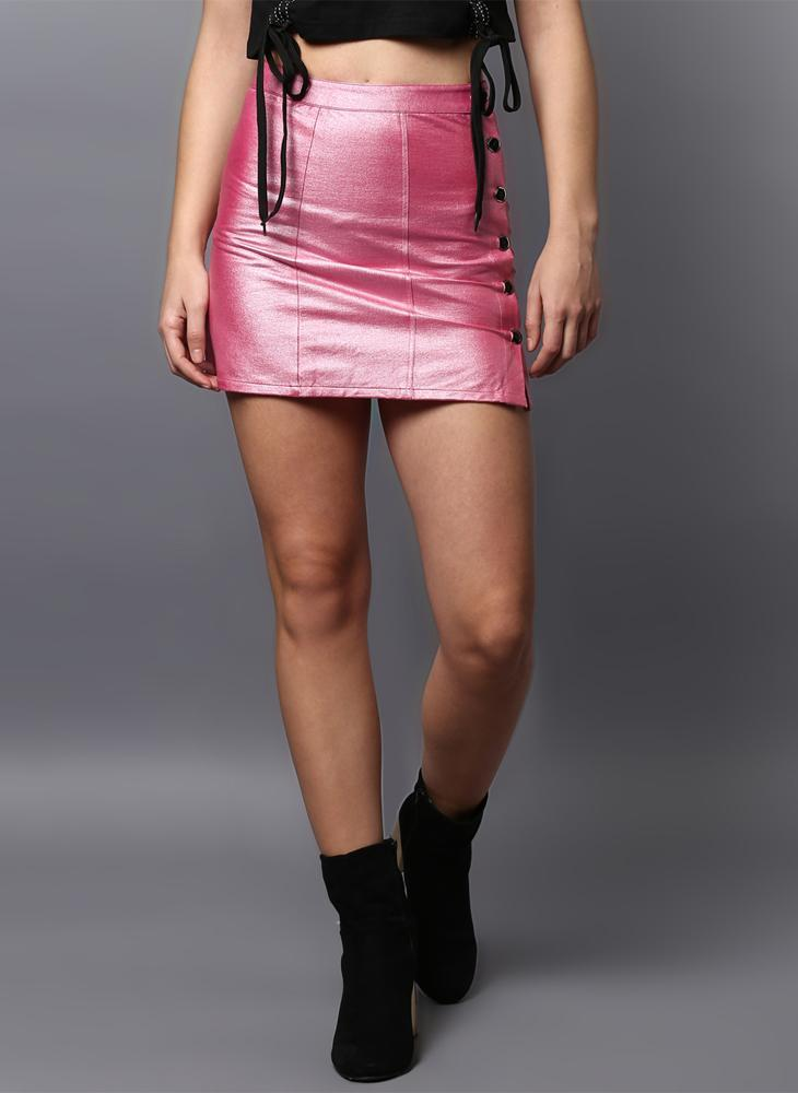 Metallic Pink Skirt with Button Placket