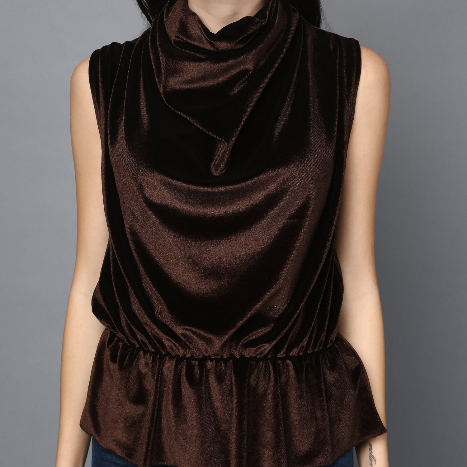 Dark Brown Front Cowl Neck Velvet Top