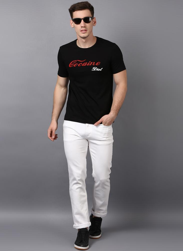 'COCAINE DIET' Printed Basic Black T-Shirt