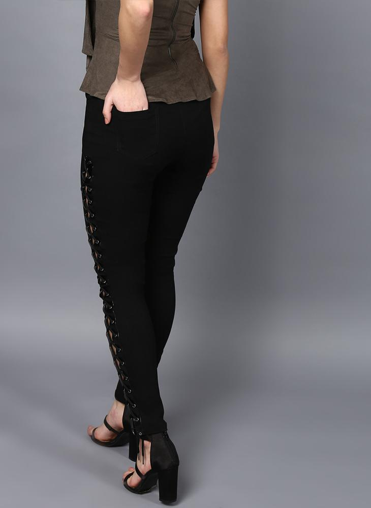 Black Skinny Fit Trousers with Eyelet and Lace Tie-up Detail