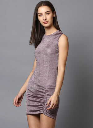 Melange Sleeveless Dress with Front Rusching Detail