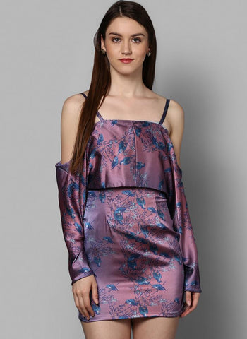 Satin Printed Slip Dress with Front Overlap