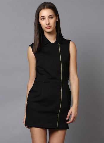 Black Textured Jacket Dress with Front Zipper