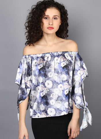 Off Shoulder Printed Satin Top  with Slit Sleeve