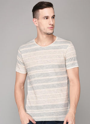 Grey Criss-Cross Pattern Round Neck T-shirt
