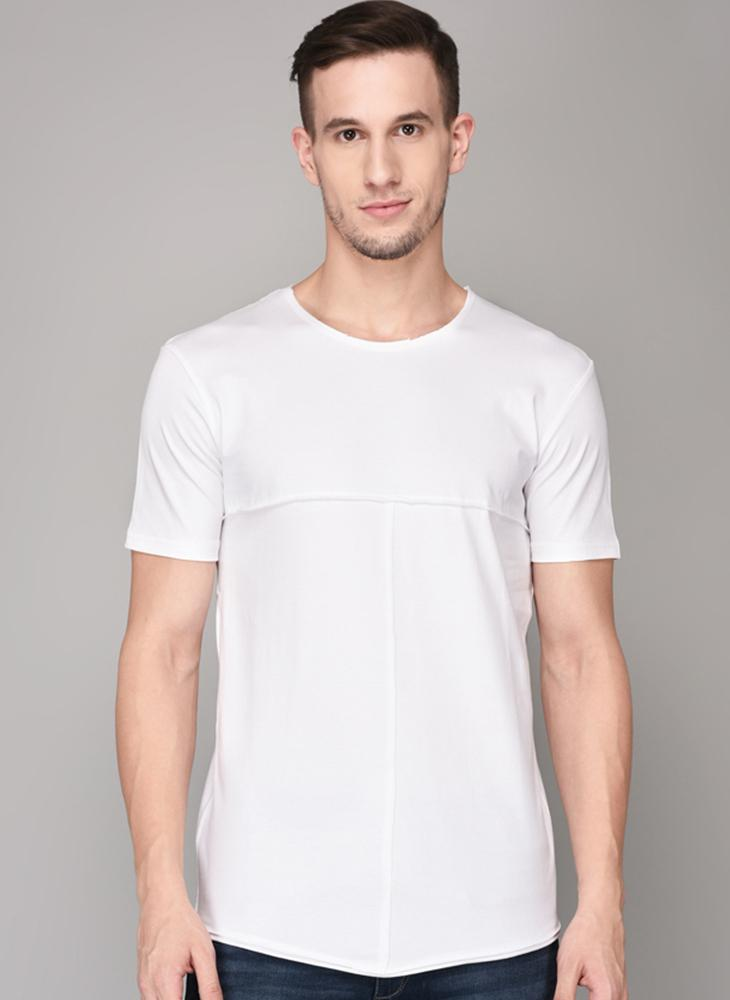 White Round Neck T-shirt with Self Piping Detail
