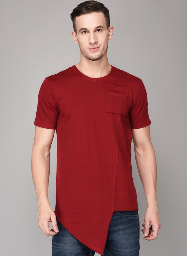 Red Round Neck T-shirt with Front pocket & Handkerchief Hem Detail