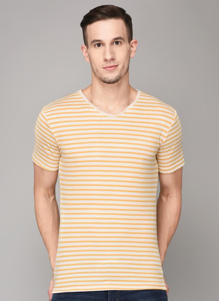 Yellow striped V-Neck T-shirt