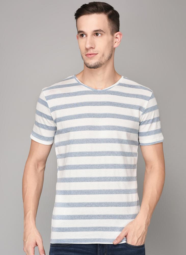 Pastel Blue Striped Textured T-shirt