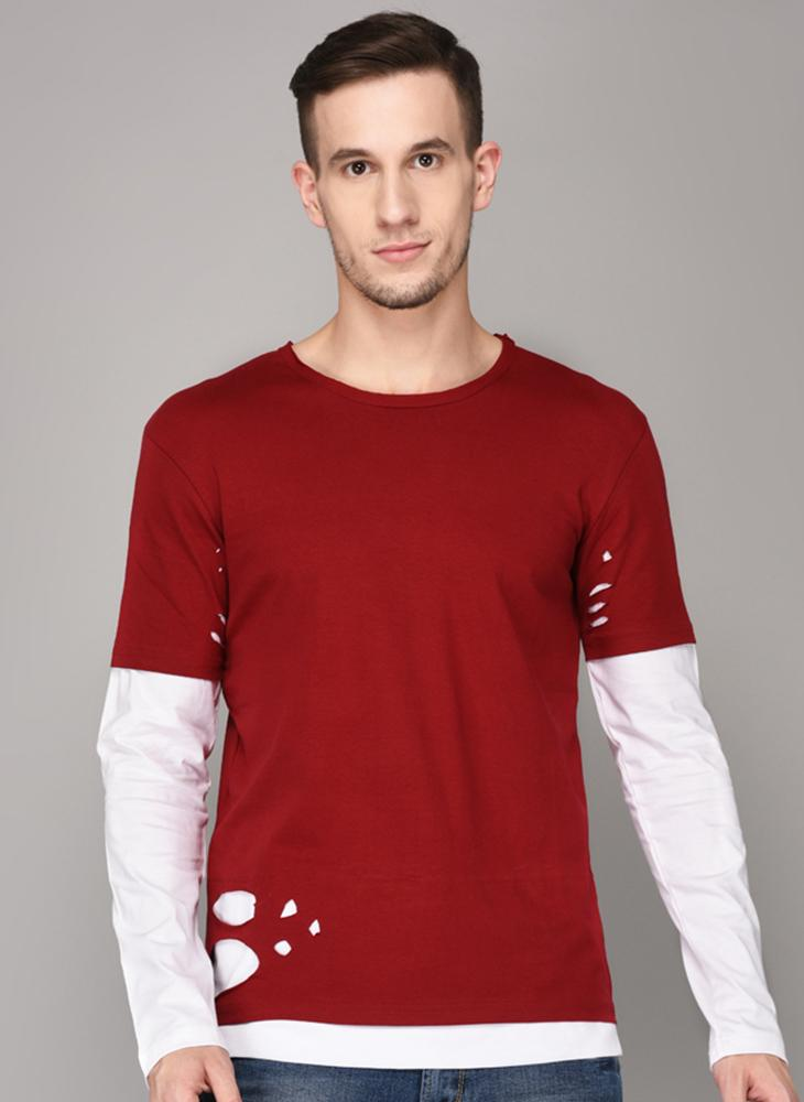 Red Distressed T-shirt with White Full Sleeve Lining