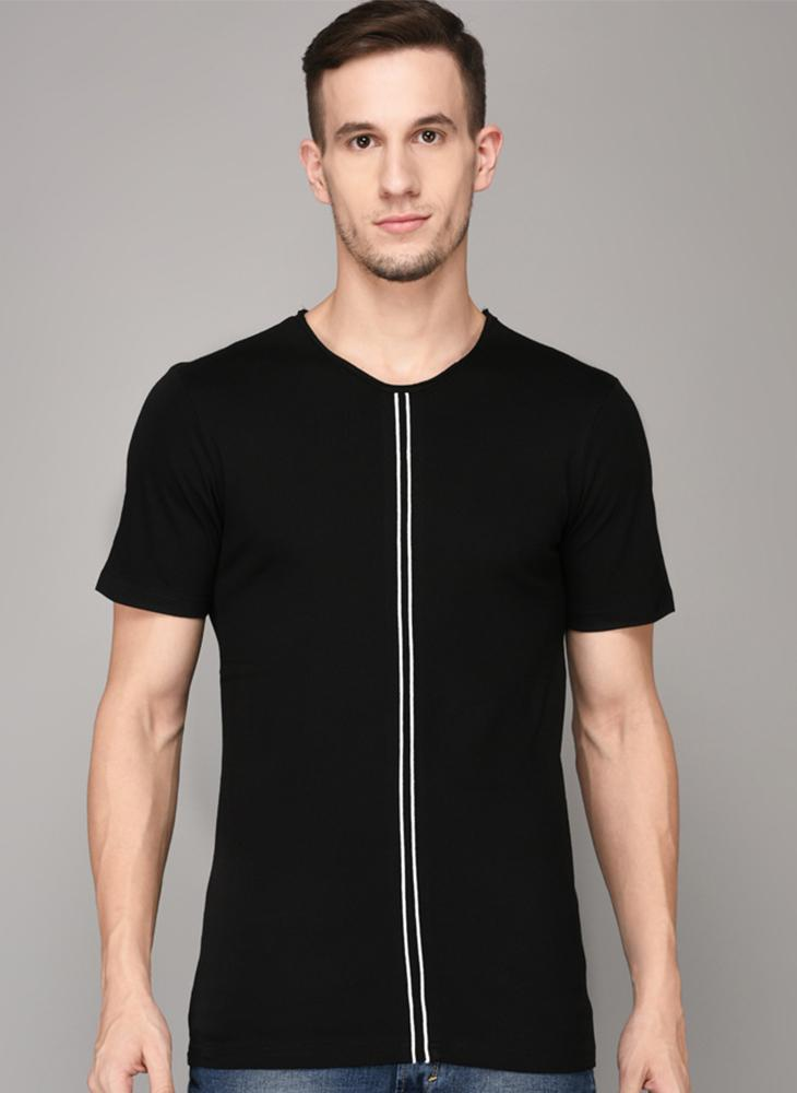 Black Round Neck T-shirt with Contrast Front detail