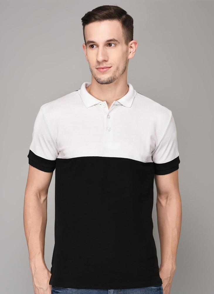 Black and White Cut & Sew Polo Neck T-shirt