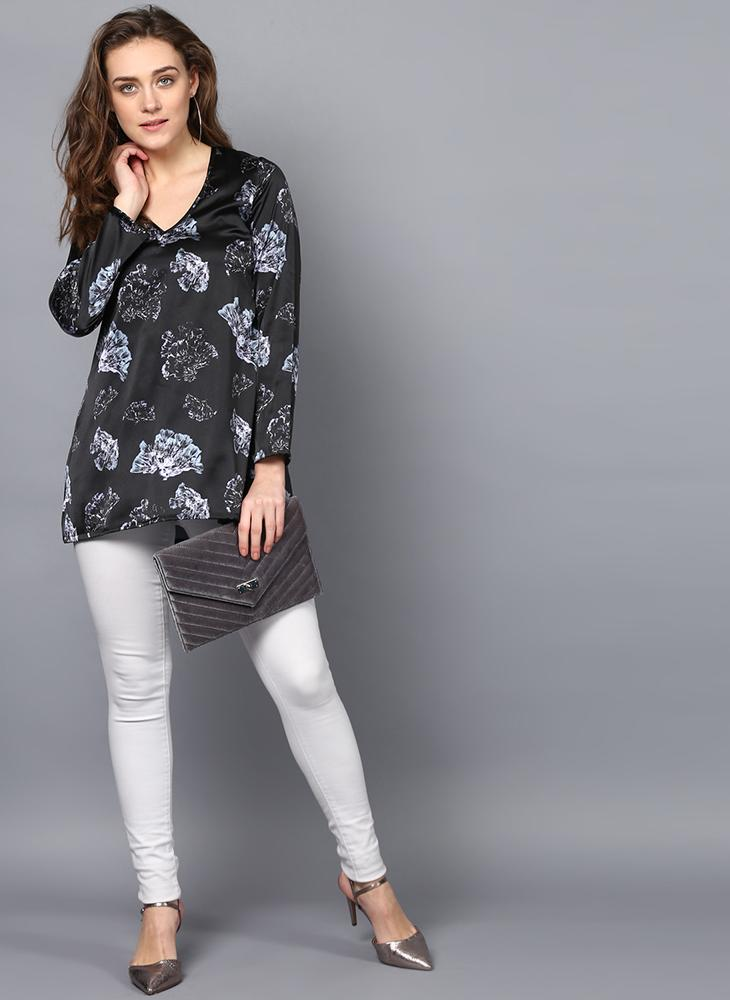 V-Neck Dark Floral Printed Tunic