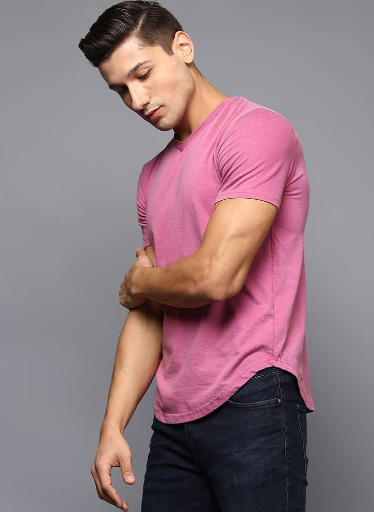 Pink V-Neck Basic T-Shirt