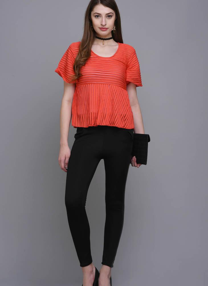 Coral Pleated Fit& Flare Blouse