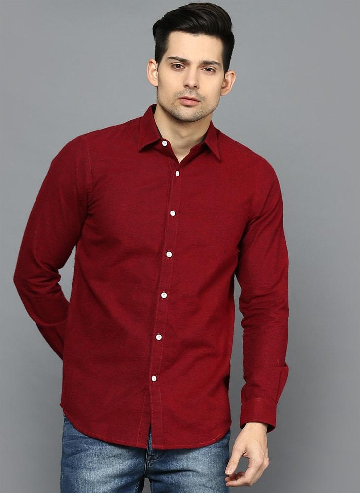 Brushed Cotton Bright Red Shirt