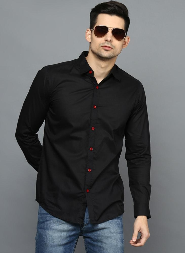 Black Button down Shirt with Contrast Pink Buttons