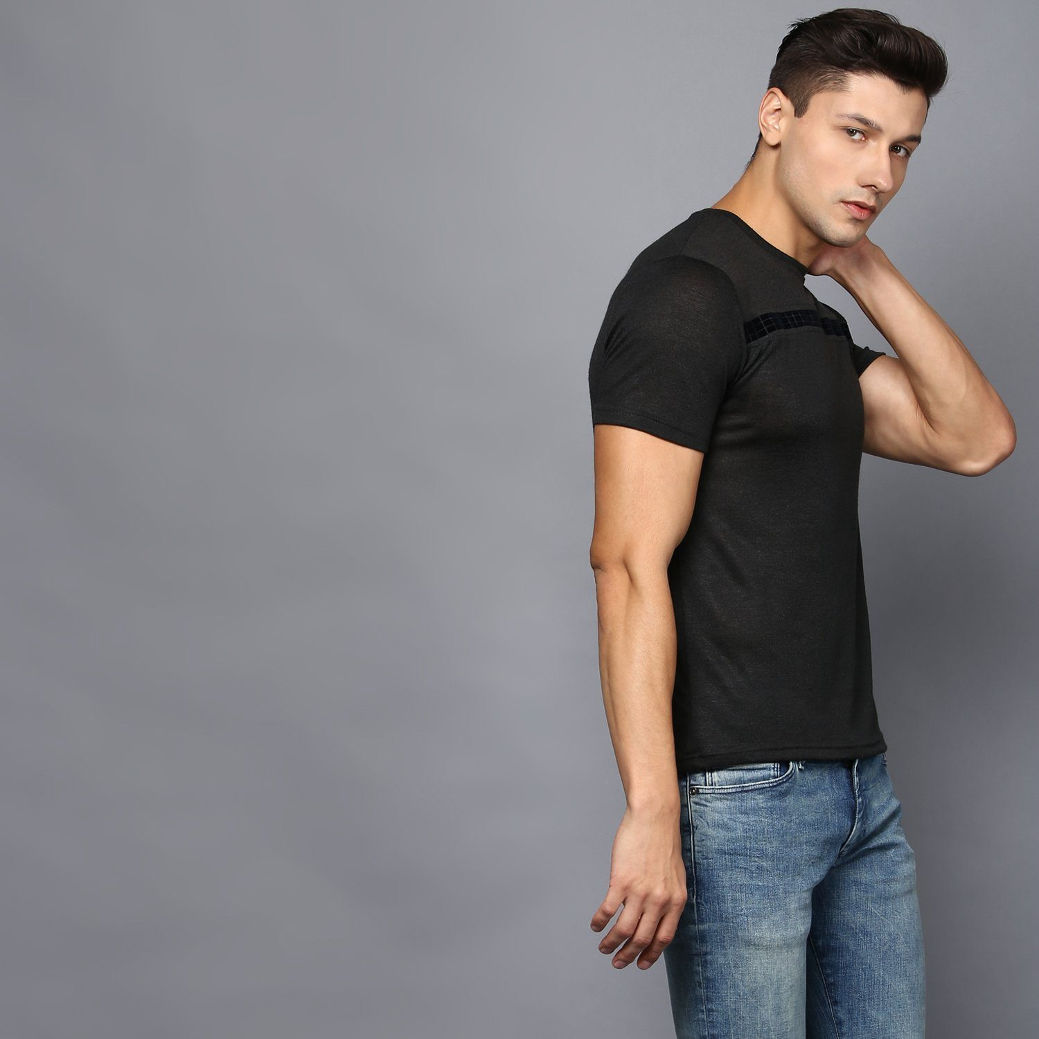 Body Fit Crew Neck T-Shirt with Checkered Velvet Detail