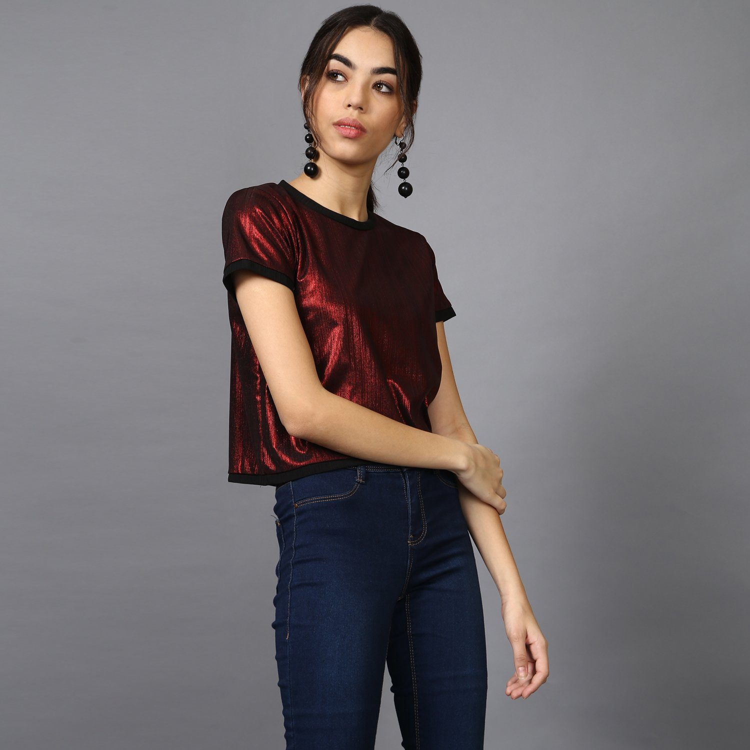 Red Metallic Crop Top with Contrast Rib