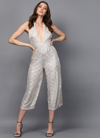 Halter Neck Metallic Culotte Jumpsuit