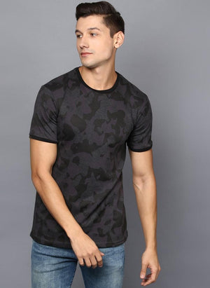 Camouflage Contrast Rib Crew Neck T-Shirt