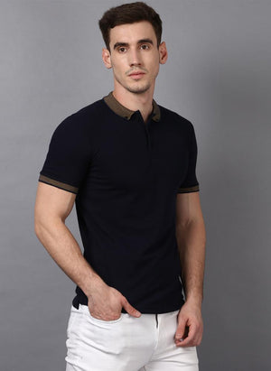 Navy Polo Neck with Contrast Collar
