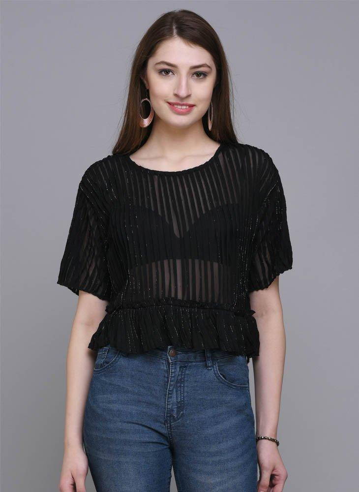 Black Shimmer Crop Top with Ruffle hem