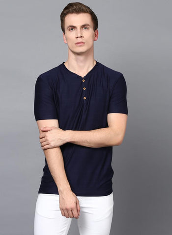 Navy Half Sleeve Henley Collar T-Shirt