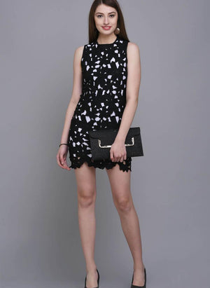 Black Shift Dress in Floral Lace