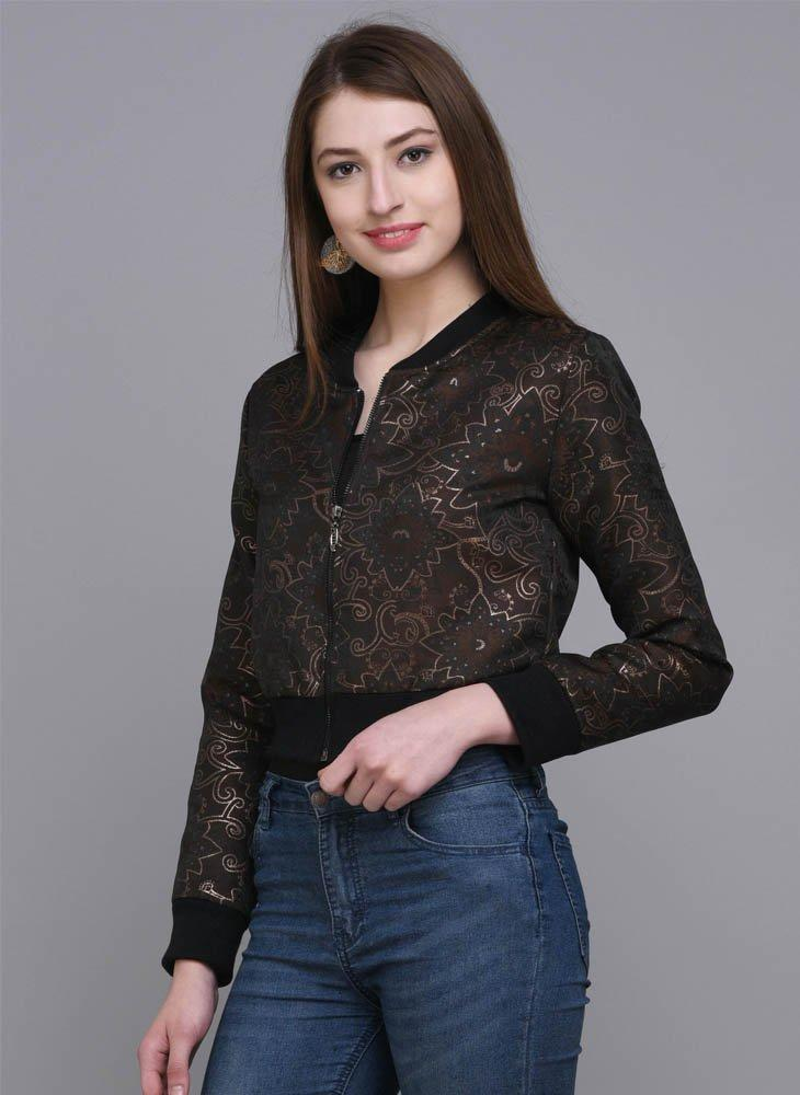 Cropped Brocade Jacket with Geometrical Floral Motif