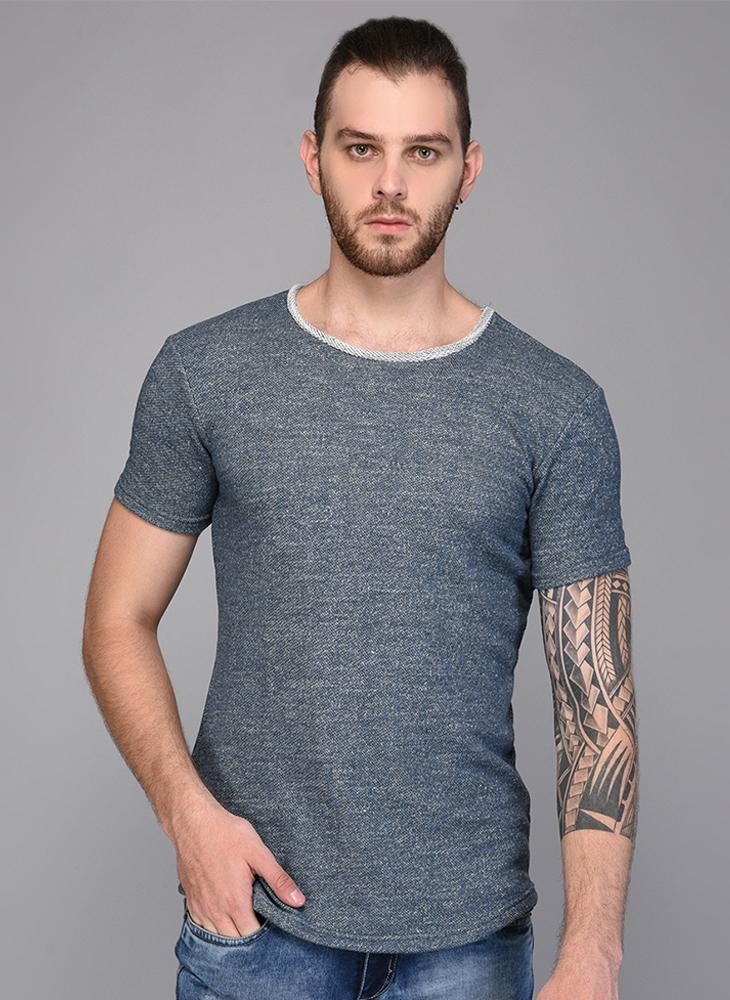 Melange Grey T-shirt with Contrast Rib