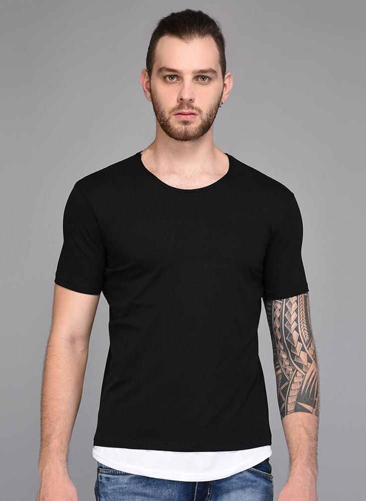 Basic Black T-shirt with Contrast White Lining