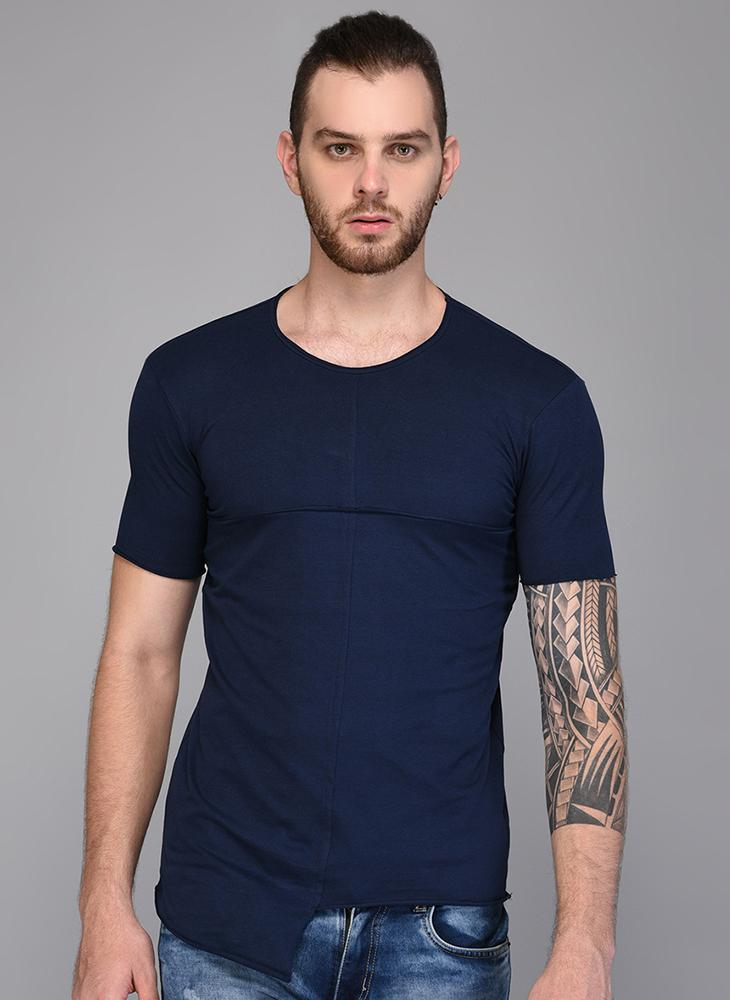 Navy Blue Paneled T-shirt with Asymmetrical Hemline