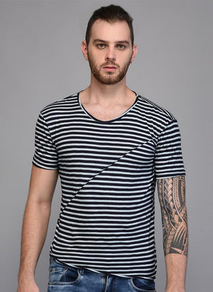 Black & White Striped T-shirt with Piping Detail