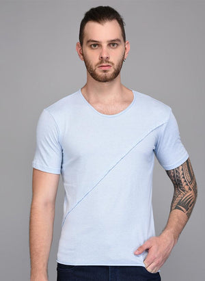 Pastel Blue T-shirt with Piping detail