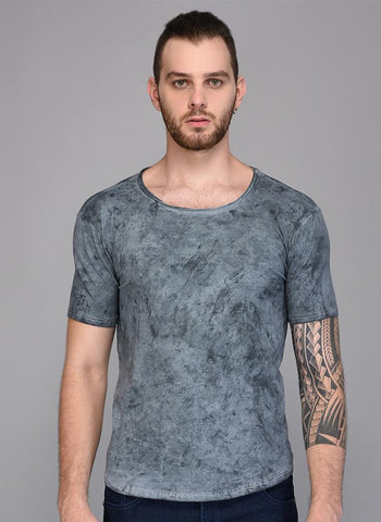 Grey Blast Wash Crew Neck T-shirt