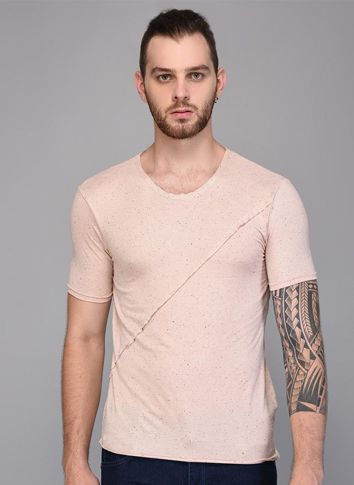 Peach Textured T-shirt with Piping detail