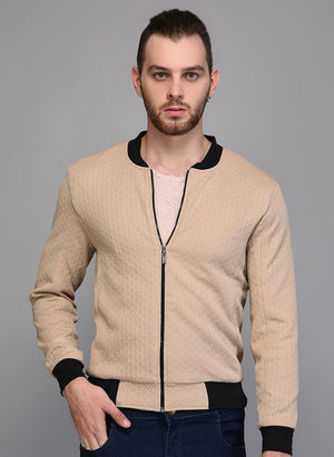 Beige Textured Jacket with Contrast Rib