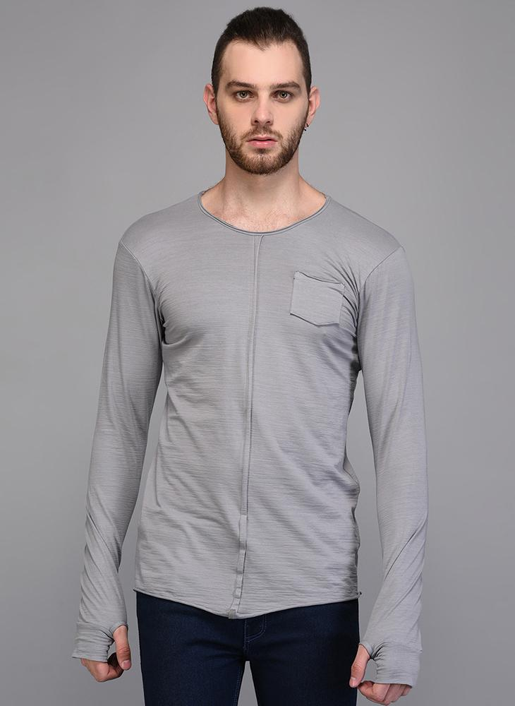 Grey Full Sleeve Paneled T-shirt with Pocket detail